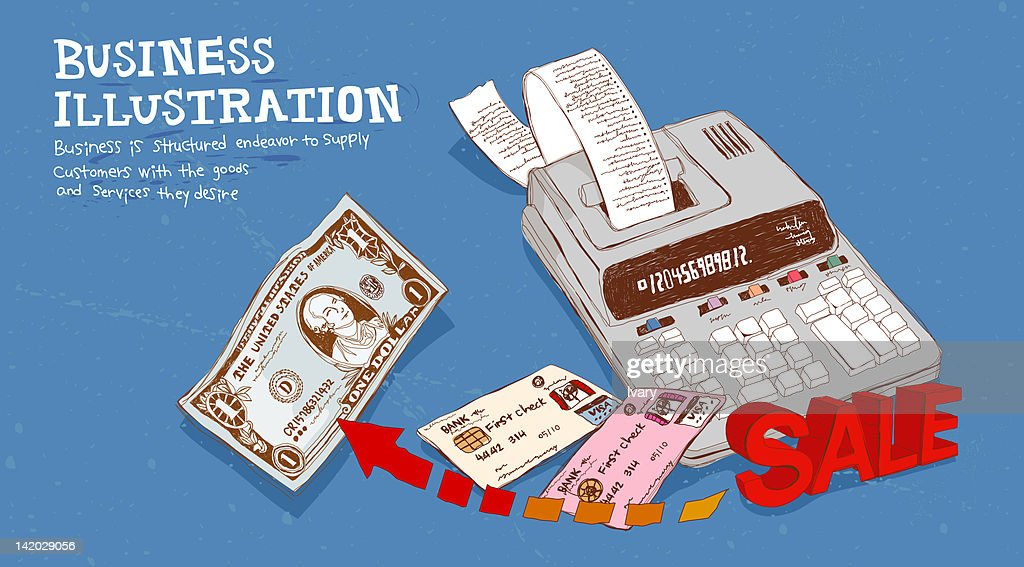 Illustration of billing machine and credit cards : stock illustration