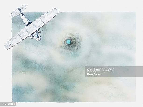 illustration of biplane flying above clouds and wormhole in sea below - biplane stock illustrations, clip art, cartoons, & icons