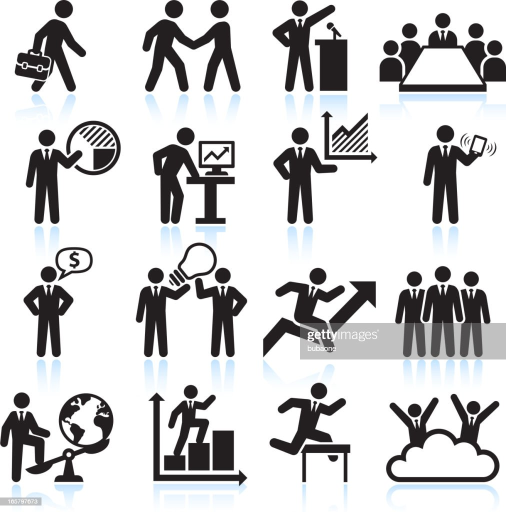 Illustration of black and white business icon set