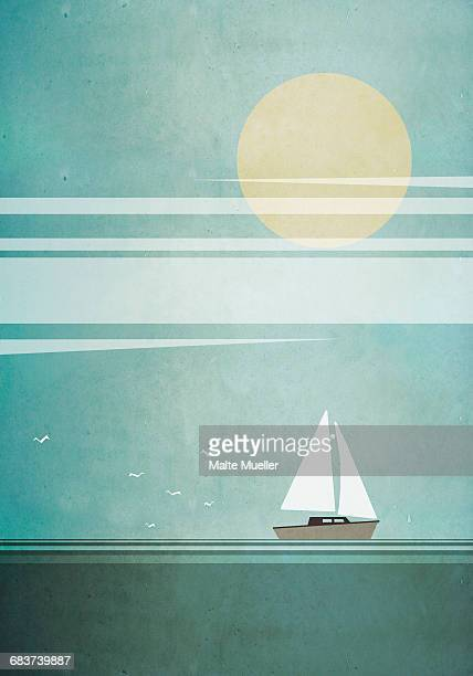 illustration of boat sailing in sea on sunny day - illustration technique stock illustrations