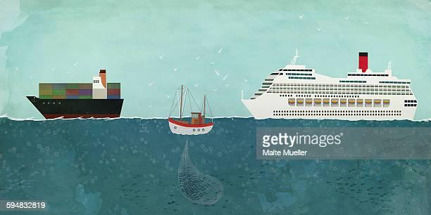 Illustration of boats sailing on sea