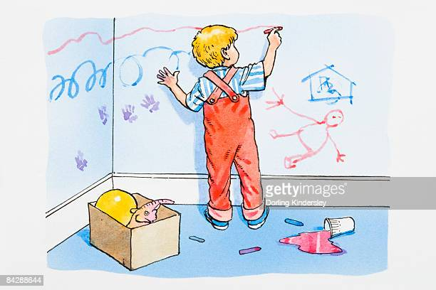 Illustration of boy in messy room scribbling on wall with red crayon, and pink paint spilled on floor behind