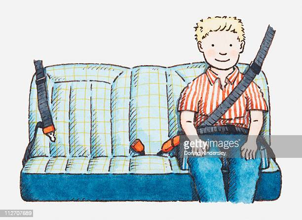 Illustration of boy on car seat with seat belt on