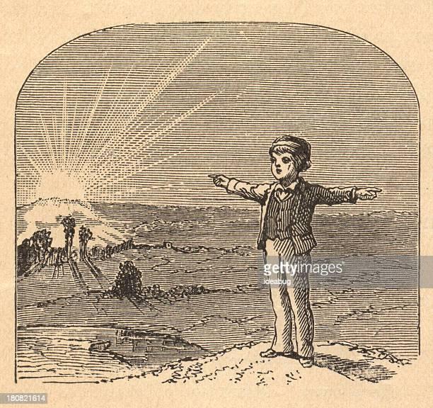 ilustraciones, imágenes clip art, dibujos animados e iconos de stock de illustration of boy señalando east/west con las armas, desde 1875 - geografía física