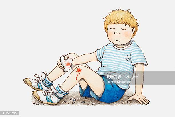 Illustration of boy sitting on the ground and holding a tissue above a knee wound