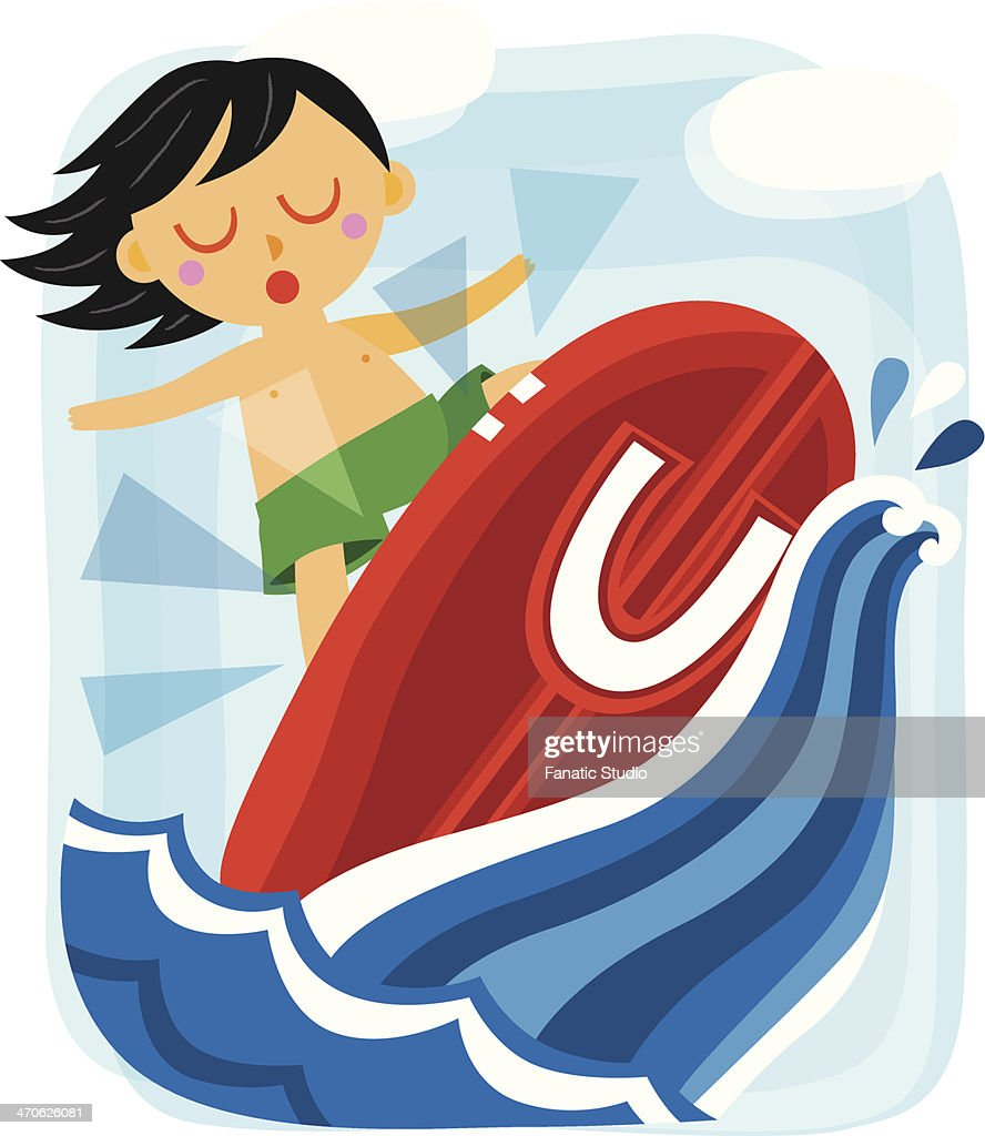 Illustration of boy surfing with letter U on surfboard in sea : Vector Art