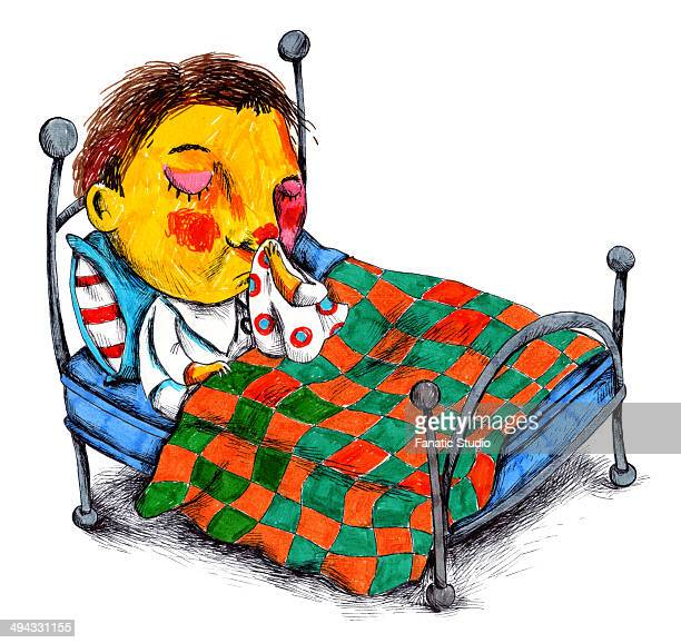 ilustraciones, imágenes clip art, dibujos animados e iconos de stock de illustration of boy wiping his nose in bed - blowing nose