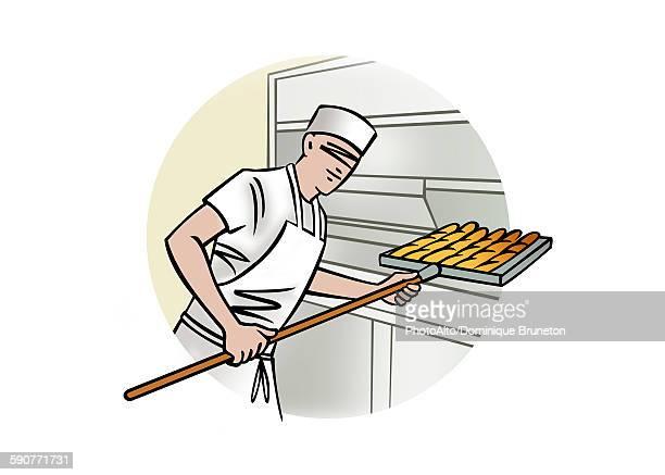 illustration of bread baker - baker occupation stock illustrations