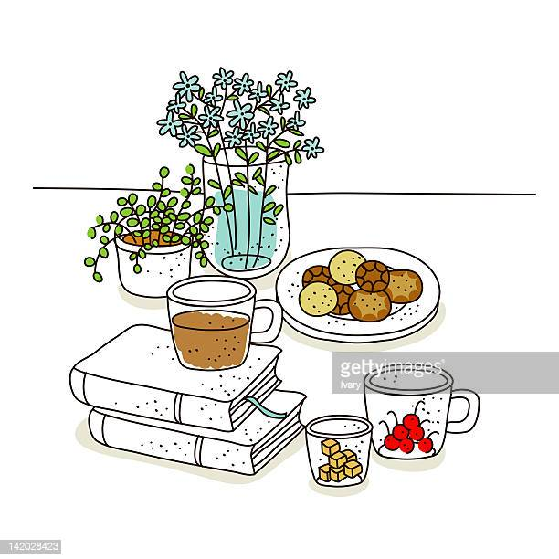 illustration of breakfast time with books - sugar cube stock illustrations, clip art, cartoons, & icons