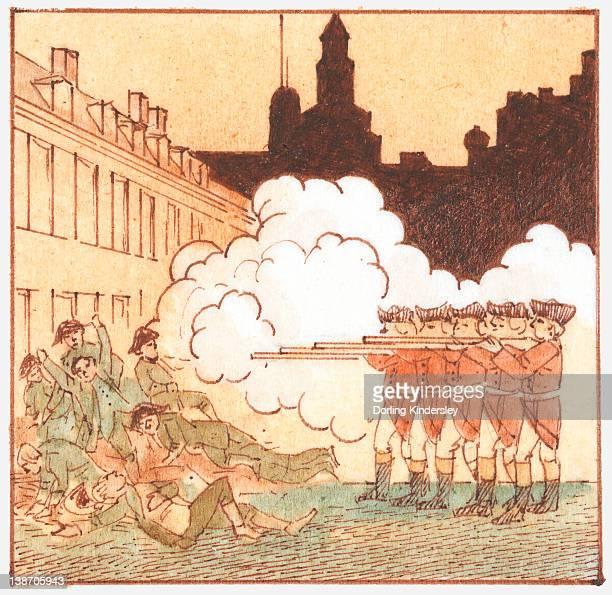 Illustration of British redcoats killing civilians, known as the Boston Massacre
