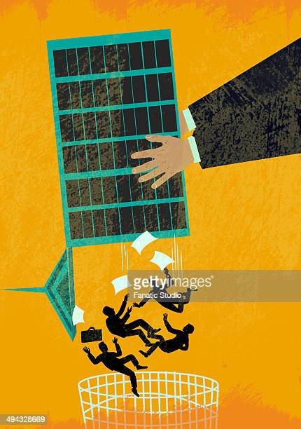 illustration of business recession - downsizing unemployment stock illustrations, clip art, cartoons, & icons