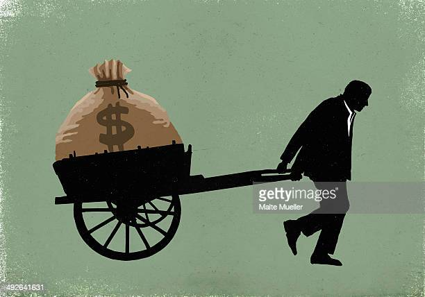 illustration of businessman carrying dollar bag in cart - money bag stock illustrations