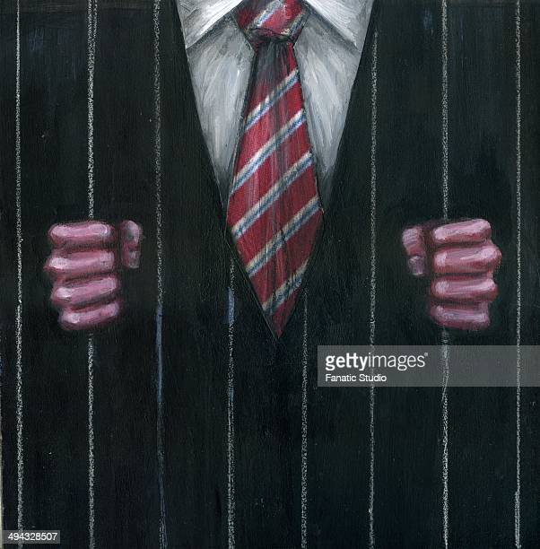 Illustration of businessman in a prison