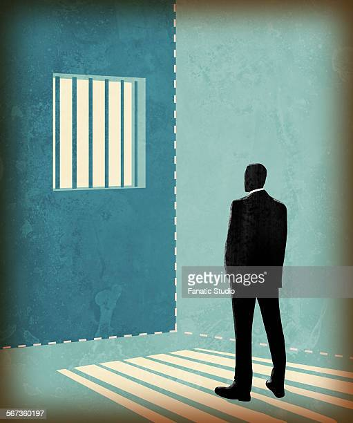 illustrations, cliparts, dessins animés et icônes de illustration of businessman in a prison - confinement clip art