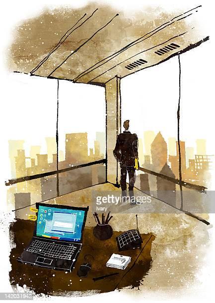 Illustration of businessman in office