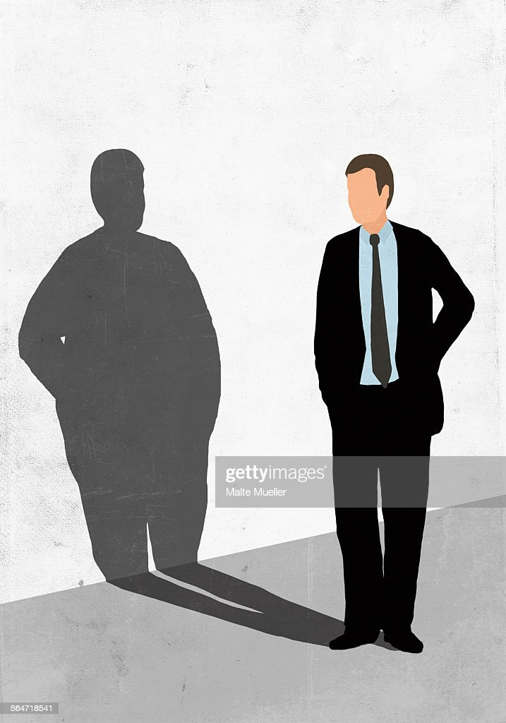 Illustration of businessman looking at his fat shadow on white wall representing obesity : stock illustration