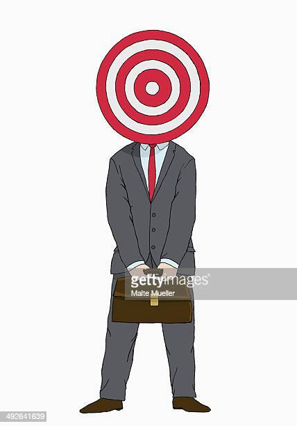 illustration of businessman with target in front of his head - sports target stock illustrations