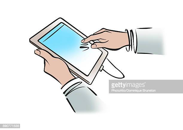 illustration of businessmans hands holding digital tablet - social media stock illustrations