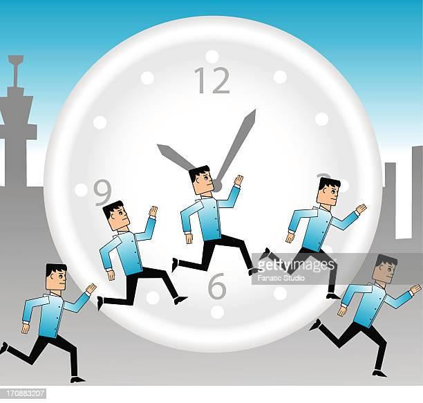 Illustration of businessmen running round the clock