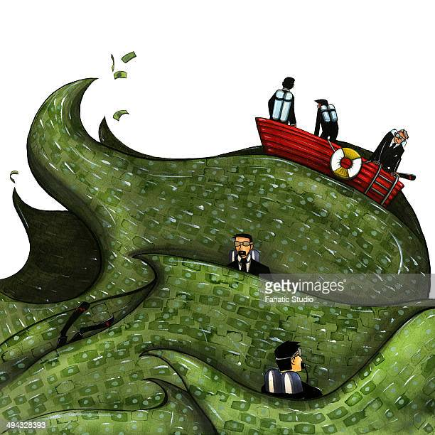 ilustraciones, imágenes clip art, dibujos animados e iconos de stock de illustration of businesspeople sailing on boat in the ocean of money - charity benefit