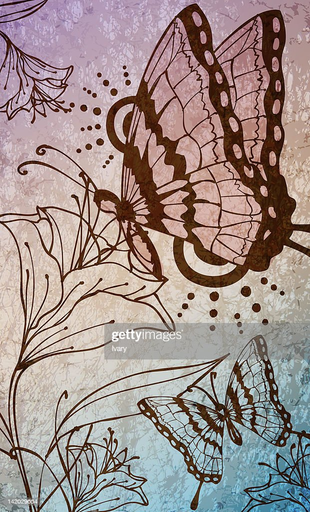 Illustration of butterfly and flower : stock illustration