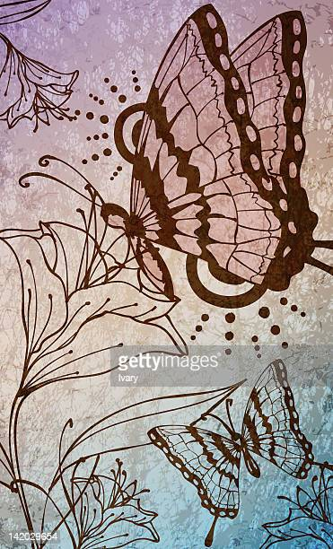 Illustration of butterfly and flower