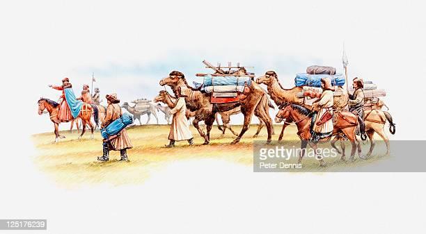 illustration of camel caravan consisting of camels, horses and marco polo's merchants, 13th century - handel treiben stock-grafiken, -clipart, -cartoons und -symbole