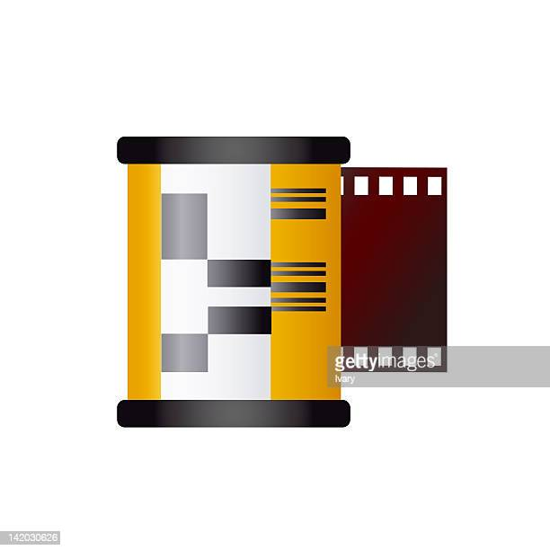 ilustraciones, imágenes clip art, dibujos animados e iconos de stock de illustration of camera film - rollo de cine