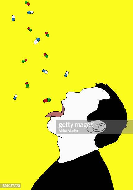 Illustration of capsules falling on man with sticking tongue out representing drug overdose