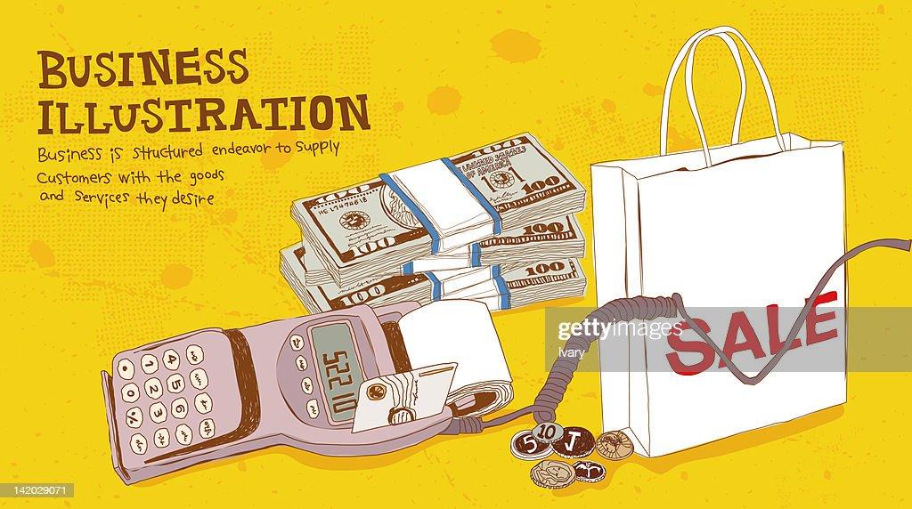 Illustration of card reader, money and shopping bag : stock illustration
