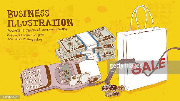 Illustration of card reader, money and shopping bag