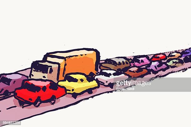 illustration of cars in traffic jam against white background - traffic stock illustrations