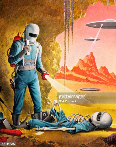 Illustration of cartoon spaceman finding dead colleague