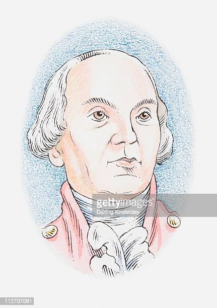 illustration of charles-augustin de coulomb, portrait - physicist stock illustrations, clip art, cartoons, & icons