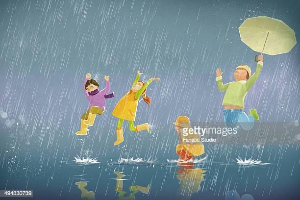 illustration of children enjoying in rain - monsoon stock illustrations, clip art, cartoons, & icons