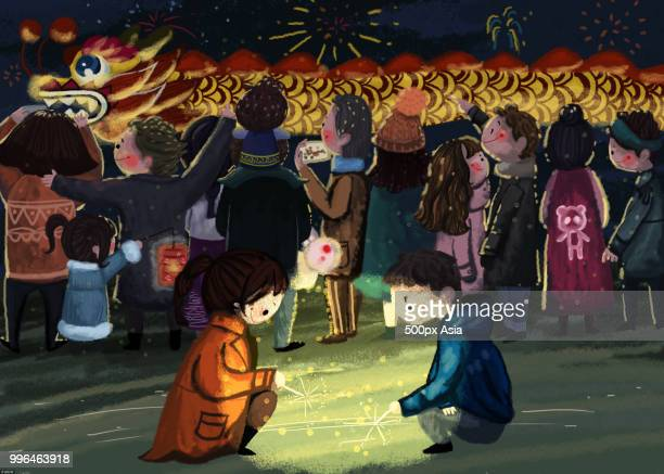 Illustration of children playing with fireworks with dragon dance in background during Chinese New Year