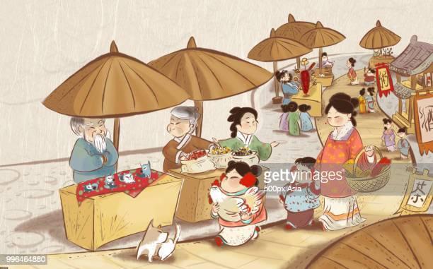 ilustraciones, imágenes clip art, dibujos animados e iconos de stock de illustration of chinese new year market - puesto de mercado