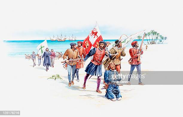 ilustraciones, imágenes clip art, dibujos animados e iconos de stock de illustration of christopher columbus and sailors landing on west indies island shore - cristobal colon