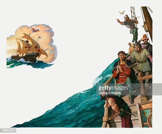 ilustraciones, imágenes clip art, dibujos animados e iconos de stock de illustration of christopher columbus in the santa maria ship and his crew looking for land - cristobal colon