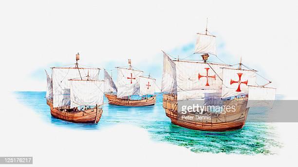 ilustraciones, imágenes clip art, dibujos animados e iconos de stock de illustration of christopher columbus' ships, the nina, pina, and santa maria - cristobal colon