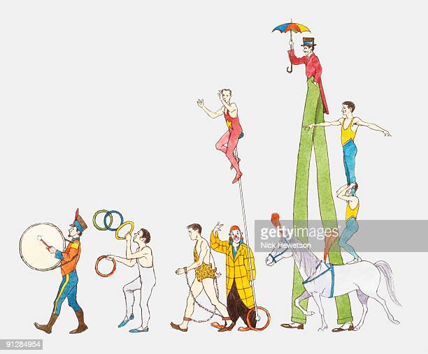 Illustration of circus performers walking in parade led by drummer in uniform