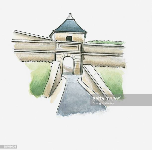illustration of citadel at blaye, gironde, france - aquitaine stock illustrations, clip art, cartoons, & icons