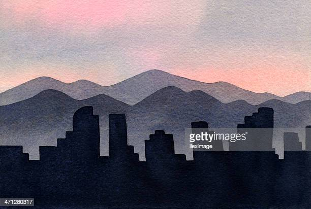 illustration of cities and mountains on the denver skyline - colorido stock illustrations