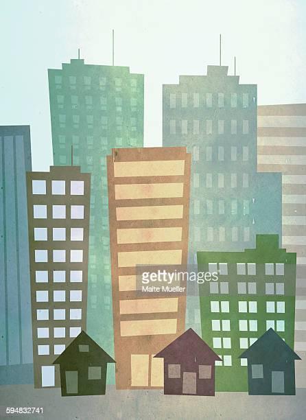illustration of city buildings - tall high stock illustrations