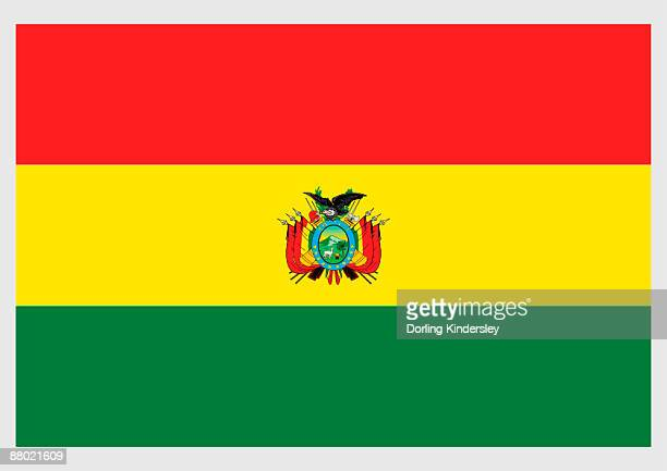ilustraciones, imágenes clip art, dibujos animados e iconos de stock de illustration of civil flag and ensign of bolivia, a horizontal tricolor of red, yellow, and green with bolivian coat of arms in centre - bandera boliviana