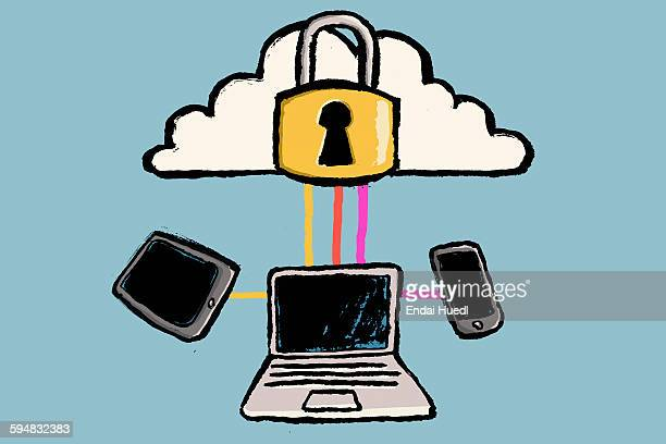 illustration of cloud computing against blue background - lock stock illustrations