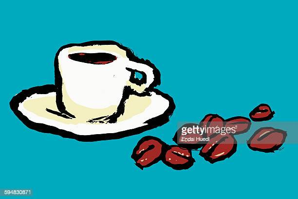 illustration of coffee cup and beans against blue background - roasted coffee bean stock illustrations