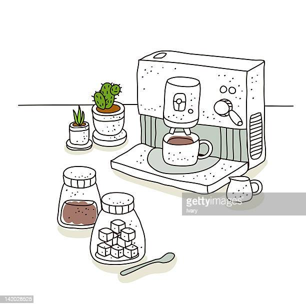 illustration of coffee machine with coffee cup - sugar cube stock illustrations, clip art, cartoons, & icons