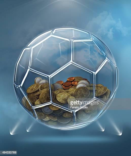ilustraciones, imágenes clip art, dibujos animados e iconos de stock de illustration of coins inside transparent ball representing savings for soccer career - jugar a juegos de azar