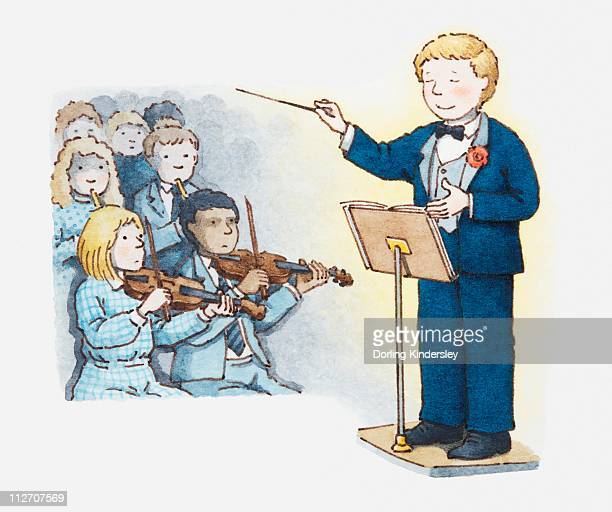 illustrations, cliparts, dessins animés et icônes de illustration of conductor and part of an orchestra with violinists in the foreground - pupitre à musique